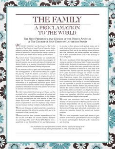 Free Printable Family Proclamation...16 different designs.