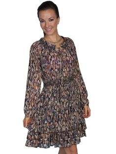 f788f66dee Women s Honey Creek Collection Dress  Feather Print with Ruffle Hem