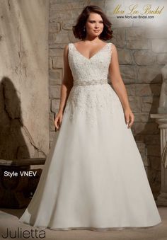 Style VNEV  EMBROIDERED APPLIQUES WITH CRYSTAL BEADING ON DELICATE CHIFFON- REMOVABLE BEADED NET BELT #11080W (INCLUDED, BUT ALSO SOLD SEPARATELY AS STYLE #11080) Available in White, Ivory