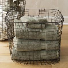 Square Hand-Wired Basket - Metal Finish | VivaTerra