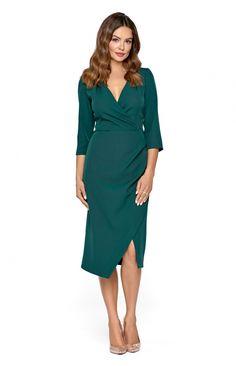 608718f3e8 Wizytowa sukienka z kopertowym dekoltem KM293-6 - ❤ Kartes-Moda ❤