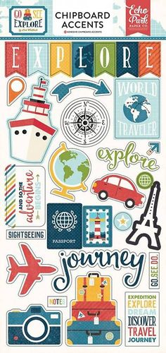 Your travel projects will be so adventurous with these cute Chipboard Stickers from the Go See Explore Collection by Echo Park! The package contains 30 stickers Scrapbook Disney, Printable Scrapbook Paper, Printable Planner Stickers, Journal Stickers, Scrapbook Stickers, Travel Scrapbook, Journal Cards, Scrapbook Journal, Scrapbook Albums