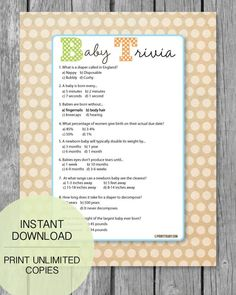 Looking for a Popular Baby Shower Game That Everyone Will Love? These Baby Shower Trivia Games Are A Proven Hit At Baby Showers! So Much Fun!