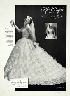 1956 Ad Alfred Angelo Vintage Wedding Dress Edythe Vincent Bride Bridal YBSM1
