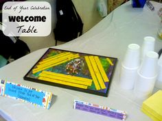 End of School Year Celebration with Parents Welcome Table - Includes Welcome and Instruction Signs along with a Class Memory Frame