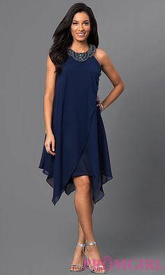 Image of short sleeveless navy-blue handkerchief dress Style: SG-ASWKOATR Detail Image 1
