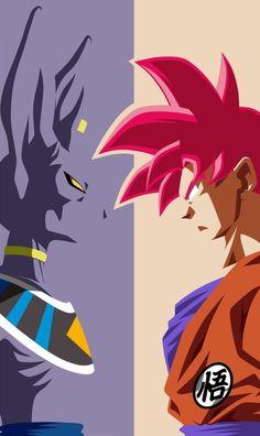 Dragon Ball - Goku and Beerus (Super Saiyan God) Poster Dragonball Evolution, Dragon Ball Gt, Son Goku, Dbz Wallpapers, Manga Dragon, Goku Wallpaper, Goku Super, Oeuvre D'art, Akira