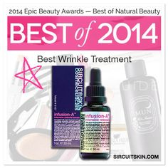 SIRCUIT® Cosmeceuticals tops in the anti-aging category! Big thanks go out to everyone at the Epic Beauty Awards! Voted Best Wrinkle Treatment: SIRCUIT®'s Infusion-A™ Intensive Retinoid Serum.  Easily removes dehydration lines and fine lines, effectively preventing wrinkles. Great for use around the eyes! See for yourself why it keeps taking home the win- 3 years in a row! Learn about Vitamin A and the game changing Iconic-A at sircuitskin.com.