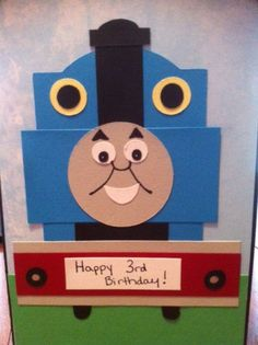 Thomas the Train card for 3 year old boy's birthday