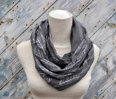 Rad scarf Etsy listing at https://www.etsy.com/listing/210965383/infinity-scarf-grey-feather-screenprint