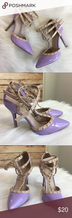 """Wild Diva Lounge lavender studded heels Wild Diva Lounge brand / lavender & nude heels / Preloved condition  Size 9, fits true to size Buckle and strap closure  Heel height: 4.5"""" *These shoes have some light scuff marks on toes, bottoms show minimal wear *they're in excellent condition for being worn. Comes without shoebox but will be packaged safely in a usps shipping box. Wild Diva Shoes Heels"""