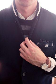 Club Monaco Jacket + J.Crew Lambswool Stripe Sweater via Fancy Girl Fashion, Fashion Outfits, Mens Fashion, Street Fashion, Like A Sir, Thing 1, Mode Masculine, My Guy, Dapper