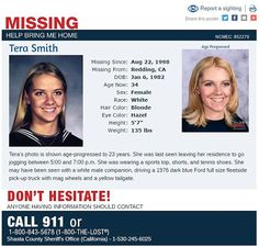Tera Smith missing poster [Photo: Shasta County Sheriff's Office]