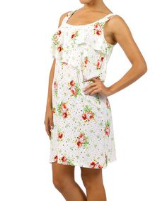 Love this White & Green Floral Ruffle Shift Dress by Pretty Young Thing on #zulily! #zulilyfinds