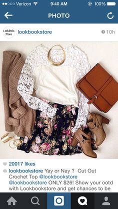 Floral skirt lace top beige cardigan