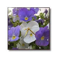 Purple and White Pansies- Autumn Flowers- Floral Photography - Wall Clocks