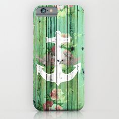 Vintage Floral Nautical Anchor Green Beach Wood iPhone & iPod Case by Girly Trend - $35.00