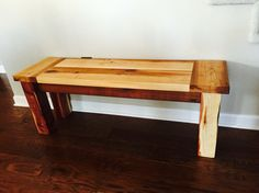 A cedar bench that I made from scraps given to me from my neighbor and 4x4 posts that were left over when our fence was built a few years back.