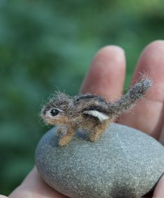 Micro Chipmunk Needle Felted, Miniature Animal 1/12 scale by ClaudiaMarieFelt on Etsy https://www.etsy.com/listing/526979564/micro-chipmunk-needle-felted-miniature