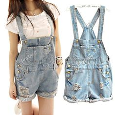New Arrival Ripped Style Denim Overalls Suspender Trousers Shorts Short Pants for Women Ladies NWU-92254