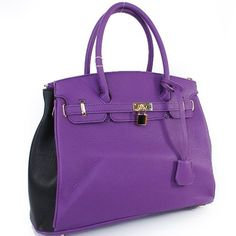 Amazon.com: Designer Inspired Purses Hermes Birkin -Similar Style London Office Tote Large Size Two Tone Color in Purple Black: Clothing $58.99