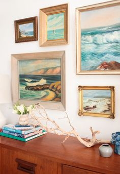 1 Credenza 4 Ways: Midcentury Coastal and A VOTE! - Emily Henderson - 1 Credenza 4 Ways // Mid Century Modern Coastal + Vintage Seascape Art -