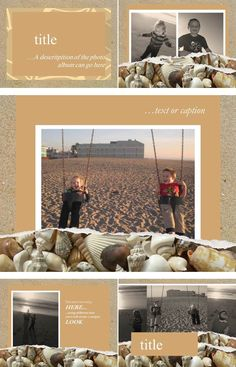 """In this digital scrapbook layout, we use a bit of sandy layering to add depth and interest to your great summer memories. """"Beyond The Sea"""" is a wonderful digital scrapbook layout for a day at the beach, a day in the sand box, or even a day on the couch where you're dreaming of a day on the beach or a day in the sandbox. Just upload your pictures and music, tell us what you want to say, and we will do the rest!"""