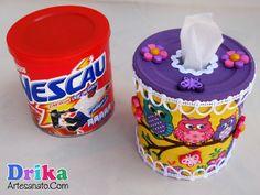 Porta papel higiênico de mesa feito com lata de Nescau passo a passo