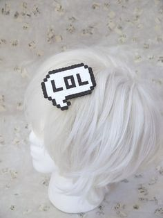 Comic Book Cartoon Bubble LOL Laugh out loud txt Message Pixel 8 Bit Art Hair Clip Ready to ship item is worn in the hair with hair clip. Other colors can be requested.