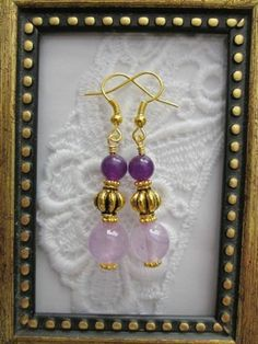 Handmade Purple Gemstone Gold Tone Earrings, Free U.S. Shipping!!