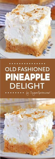 Pineapple Delight Dessert Are you looking for the perfect dessert for a summer family reunion or pot luck ? This Pineapple Delight Dessert is so easy to make and feeds a crowd. Desserts For A Crowd, Köstliche Desserts, Summer Desserts, Delicious Desserts, Yummy Treats, Sweet Treats, Yummy Food, Pudding Desserts, Pineapple Desserts