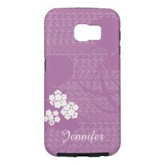 Samsung Galaxy S6 Case Purple White Flowers Modern - This tough, modern, trendy, personalized case for the Samsung Galaxy S6 is great protection and decoration for your new cell phone. Beautiful purple design with white flowers is chic, elegant, and eye catching! Text is white. Easy to personalize or delete example text. All Rights Reserved © 2015 Alan & Marcia Socolik.