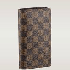 (Height*Depth) 6.3 X 3.5 inches  - Damier canvas, cross grain leather lining  - Three credit card slots, one long compartment on one side, a long slot on the other to hold an agenda refill  - Agenda refills and address book available separately