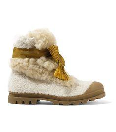 Chloé - Parker Shearling Ankle Boots - Off-white Short Heel Boots, Low Heel Ankle Boots, Long Boots, Lace Up Boots, Low Heels, Ankle Booties, Bootie Boots, Lily Aldridge, Nicole Richie