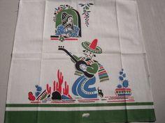 Vintage Mexican Towel Senor Serenades Senorita MINTY