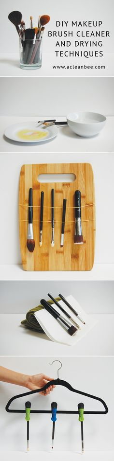 DIY makeup brush cleaner using two simple ingredients: dish soap and olive oil. PLUS three creative makeup brush drying techniques!