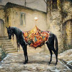 "Amazing piece by artist Esao Andrews @esao | ""Satellite"" #amazing #horse #painting"