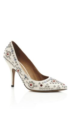 White Clemence Studded Shoes by  for Preorder on Moda Operandi