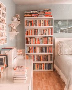 How do you guys store your books? Towering bookshelves or stacked along your bedroom floor? Honestly, I would love to have a room with… Study Room Decor, Cute Room Decor, Room Ideas Bedroom, Bedroom Decor, Library Bedroom, Bedroom Inspo, Bookshelves In Bedroom, Apartment Bookshelves, Bookshelf Ideas