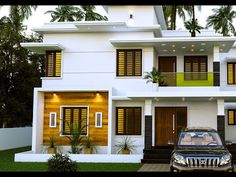Proposed Residence For Abhilash, Designed by Shine builders Consultancy - 9447730104 Single Floor House Design, Modern Small House Design, Modern Exterior House Designs, Exterior Paint Colors For House, Contemporary House Plans, House Front Design, Dream House Exterior, Modern House Plans, 2 Storey House Design