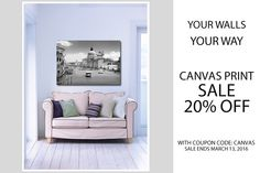 It's a great time to get your prints on canvas! Our quality custom canvas is on sale February 15 - March Photo Supplies, Fine Art Prints, Canvas Prints, February 15, Custom Canvas, Prints For Sale, Wall Art Decor, Wrapped Canvas, Gallery Wall