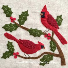 "Telling Stories Through the Needle's Eye: ""In the Garden""—Cardinals and Holly"