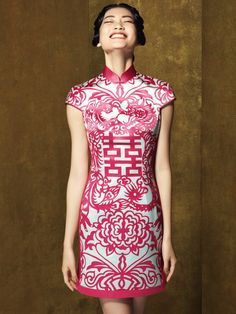 Fashion personality vintage/paper cutting chinese short qipao-in Cheongsams. Collection Eid, Costume Collection, Oriental Fashion, Ethnic Fashion, Girl Fashion, Ao Dai, China Mode, Chinese Gown, Chinese Dresses