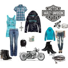 Harley Davidson A fashion look from March 2012 featuring True Religion jeans, Wet Seal jeans and Bionda Castana ankle booties. Browse and shop related looks. Motorcycle Style, Motorcycle Outfit, Motorcycle Fashion, Biker Fashion, Motorcycle Helmets, Biker Chick Style, Harley Davidson, Harley Gear, Biker Wear