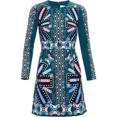Peter Pilotto Printed Crepe Dress (9 010 UAH) ❤ liked on Polyvore featuring dresses, vestidos, short dresses, blue print dress, blue dress, boho dresses, bohemian dresses and bohemian summer dresses