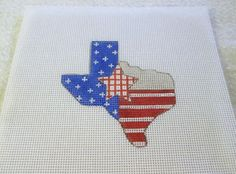Handpainted  Mono Needlepoint Canvas Red White Blue State of Texas