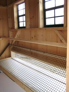 Removable tray beneath the Roosting Rod  http://www.woodtex.com/chicken-coops.asp