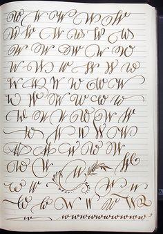 Majuscule W variants by Polish calligrapher Barbar. - Majuscule W variants by Polish calligrapher Barbar. Tattoo Fonts Alphabet, Handwriting Alphabet, Hand Lettering Alphabet, Calligraphy Handwriting, Script Lettering, Lettering Design, W Calligraphy, Penmanship, Font Styles Handwriting