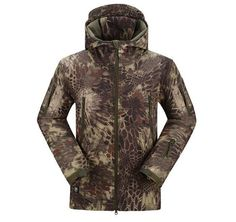 TAD Shark Skin Camouflage Outdoors Military Jacket Men Waterproof Tactical Softshell Sports Hoodies Army Hunting Outdoor Jackets