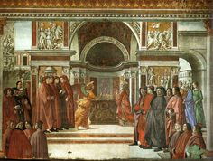 """Domenico Ghirlandaio """"An Angel Appears to Zacharias in the Temple"""" 1485-90 (Santa Maria Novella, Florence)"""